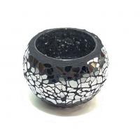 Candle holder crackle black - grey small