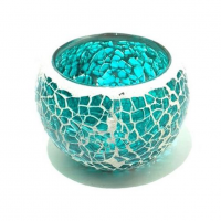 Candle holder crackle turquoise small