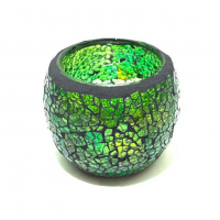Candle holder crackle green medium