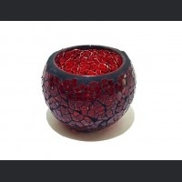 Candle holder crackle red small