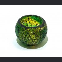 Candle holder crackle green small