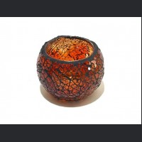 Candle holder crackle orange small