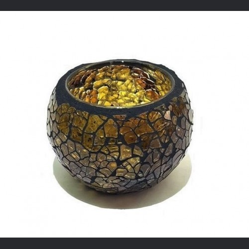 Candle holder crackle amber small
