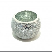 Candle holder crackle white small