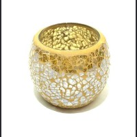 Candle holder crackle yellow - gold medium