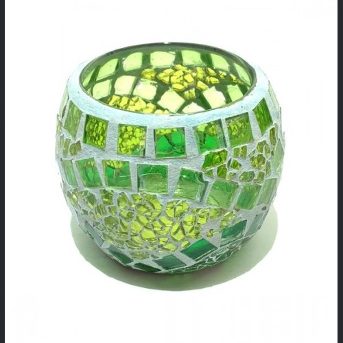 Candle holder crackle light green with mirror medium