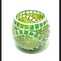 Candle holder crackle light green with mirror large