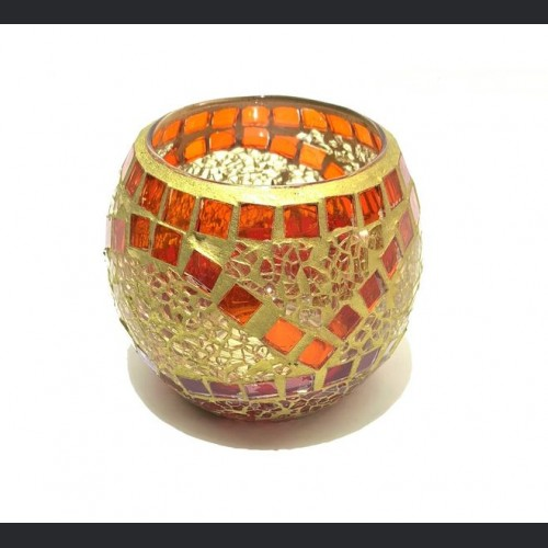 Candle holder crackle gold with mirror large