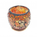 Candle holder crackle orange medium