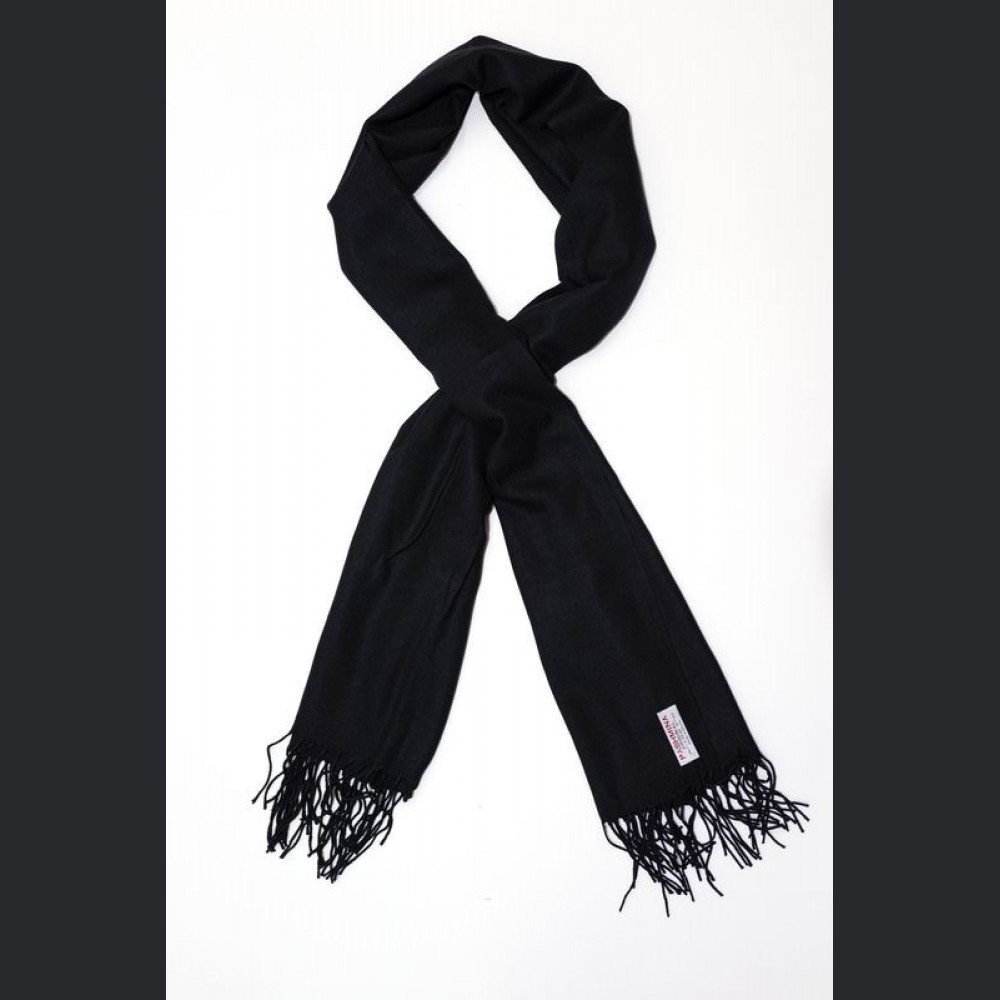 Pashmina no: 1 Black, scarf / shawl, cashmere and silk